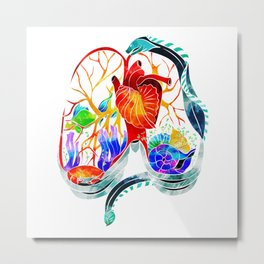 Breathe it in // anatomical lungs illustration Metal Print