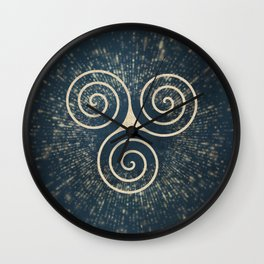 Triskelion Golden Three Spiral Celtic Symbol Wall Clock