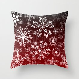 Symbols in Snowflakes on Holly Berry Throw Pillow