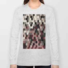 Hexagon Pattern In Gray and Burgundy Autumn Colors Long Sleeve T-shirt