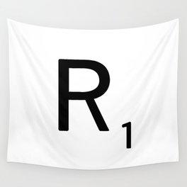 Letter R - Custom Scrabble Letter Tile Art - Scrabble R Initial Wall Tapestry