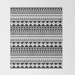 Farmhouse Kilim in Back, White + Gray Throw Blanket