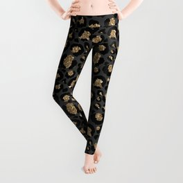 Black Gold Leopard Print Pattern Leggings