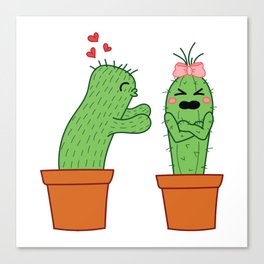 Unrequited love. Cute cactus illustration. Colorful. Canvas Print