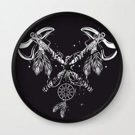 Two crossed tomahawks Wall Clock