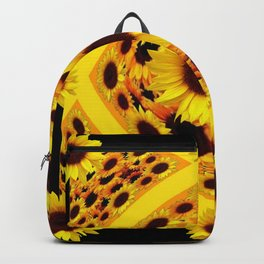 ABSTRACT BLACK GOLDEN YELLOW SUNFLOWER PATTERN Backpack