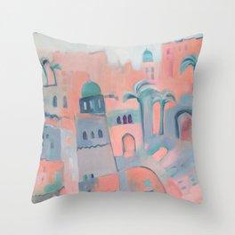 Marrakesh Markets 2 - Warm Moroccan Buildings, Souk and Market Umbrellas Throw Pillow