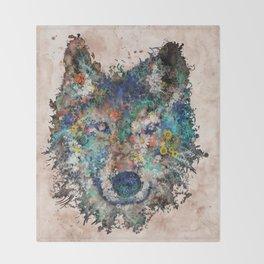 floral animals wolf Throw Blanket