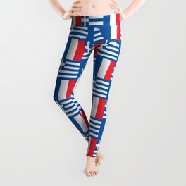 Mix of flag : France and greece Leggings