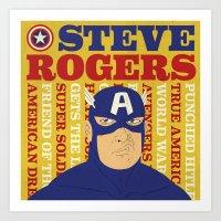 steve rogers Art Prints featuring Steve Rogers/Captain America by Joseph Rey Velasquez