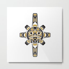 Northwest Pacific American Native Totem In Gold No.3 Metal Print
