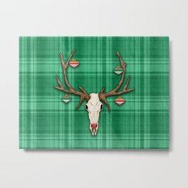 Reindeer Skull on Green Plaid Christmas Design Metal Print