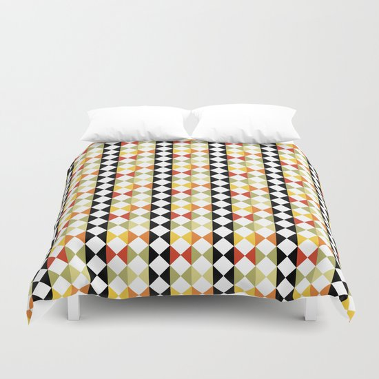 Checker diamond style colorful pattern with black and white Duvet Cover