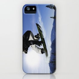 Born To Fly Snowboarder & Mountains iPhone Case