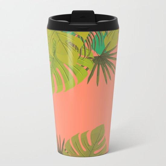Tropical leaves 02 Metal Travel Mug
