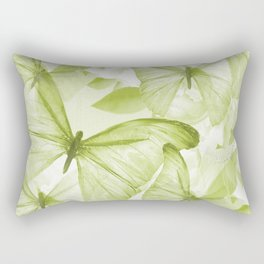 Butterflies And Flowers Green Illustration On White #decor #society6 #buyart Rectangular Pillow