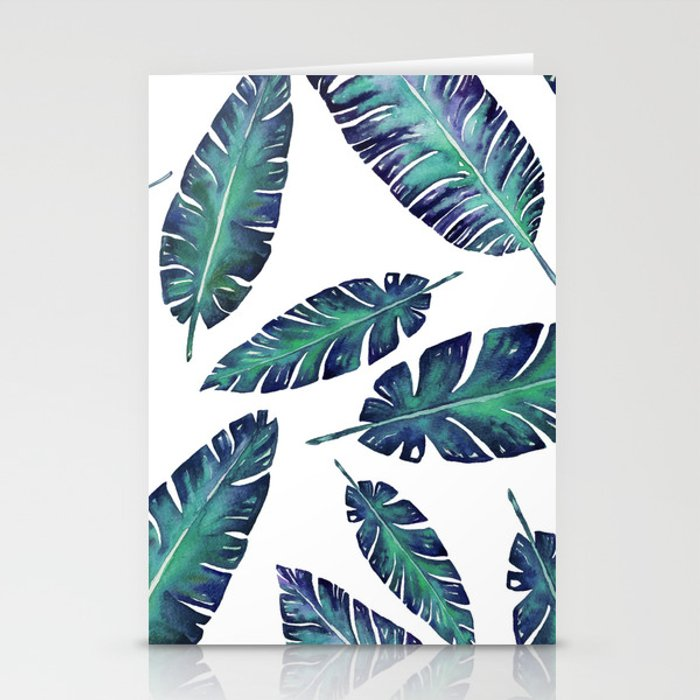 Watercolor garden leaves Stationery Cards