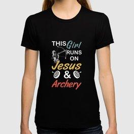 Girl Runs On Archery & Jesus Bow Hunter Gifts T-shirt