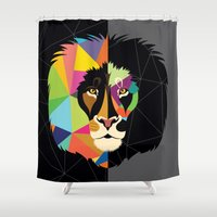 lion Shower Curtains featuring Lion by Steph Dillon