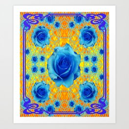 Art Nouveau Blue-golden Roses Abstract Design. Art Print