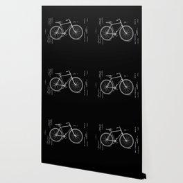 Vintage Bicycle Patent Black Wallpaper