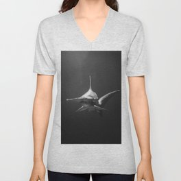 Hammerhead Shark (Black and White) Unisex V-Neck