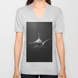 Hammerhead Shark (Black and White) Unisex V-Neck