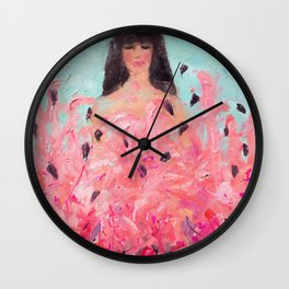Pink Thoughts (A girl with flamingos) Wall Clock