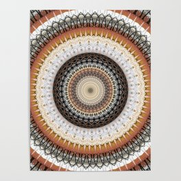 Brown Ink Boho Mandala Poster