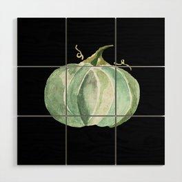 Blue Watercolor Pumpkin on Black Wood Wall Art