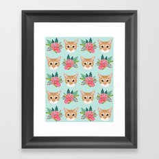 Tabby cat florals flowers must have cat themed gifts pet portrait cat lady mint pastel cat art fur Framed Art Print