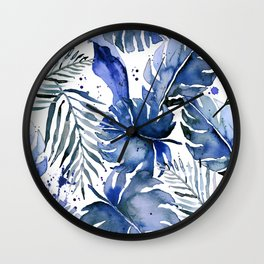 Tropical plants in indigo blue Wall Clock