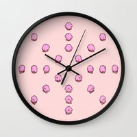 kirby Wall Clocks featuring Kirby by Slippytee Clothing