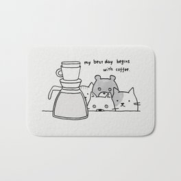 kitty with coffee Bath Mat