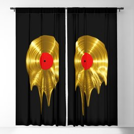 Melting vinyl GOLD / 3D render of gold vinyl record melting Blackout Curtain