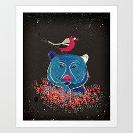 Bullfinch and bear Art Print