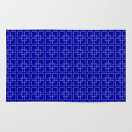 Rich Earth Blue Interlocking Square Pattern Rug