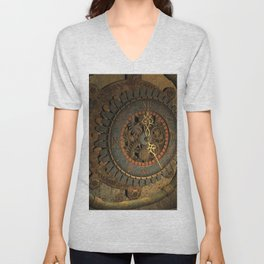 Steampunk, awesome clock, rusty metal Unisex V-Neck