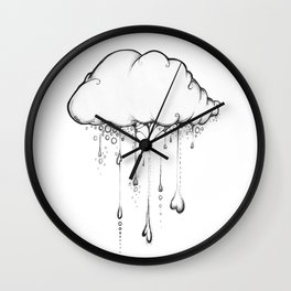 Happy Cloud Drawing, Cute Whimsical Illustration Wall Clock