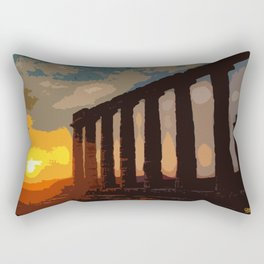 Sunset at Sounion Cape Rectangular Pillow