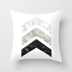 Gold Flecked Marble Chevrons Throw Pillow