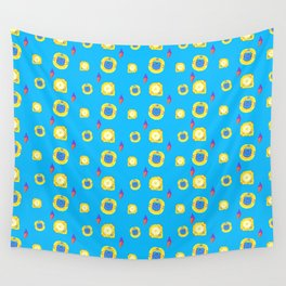 yellow substances in a blue matter Wall Tapestry