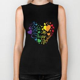 LGBT T-Shirt I Love My Crazy Boyfriend Pride LGBT Gift Biker Tank