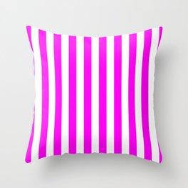 Vertical Stripes (Magenta & White Pattern) Throw Pillow