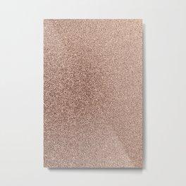 Modern Blush Pink Rose Gold Bronze Faux Glitter Metal Print
