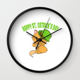 "Guys! Have This St. Patrick's Tee Saying ""Happy St. Catrick's Day"" T-shirt Design Clover Shamrock Wall Clock"