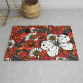 White butterfly and roses  Rug