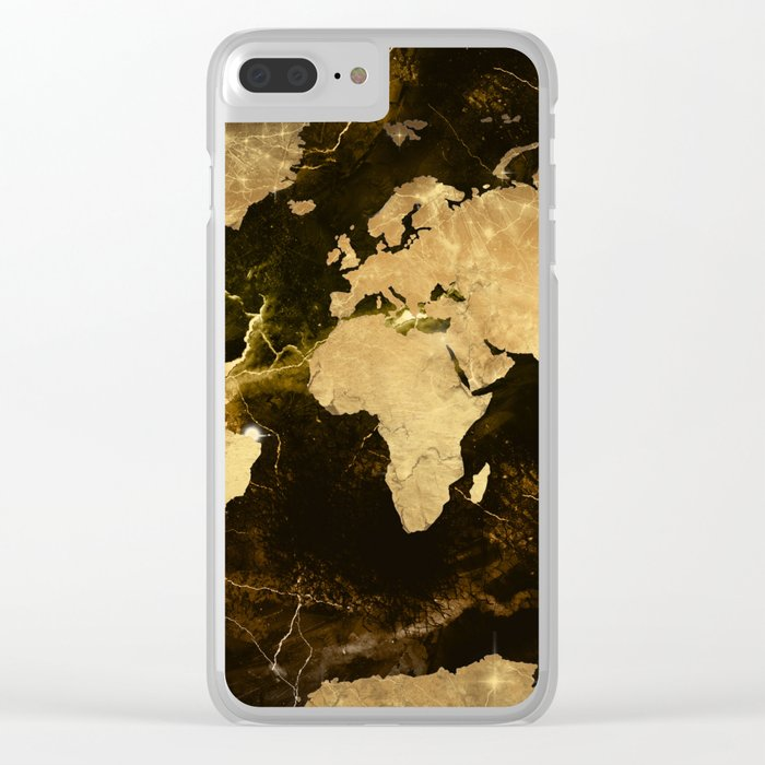 world map marble 5 Clear iPhone Case