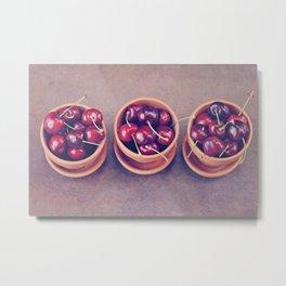 Cherries in Terra Cotta Pots Metal Print