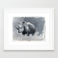 rhino Framed Art Prints featuring Rhino by Jacey's Creations